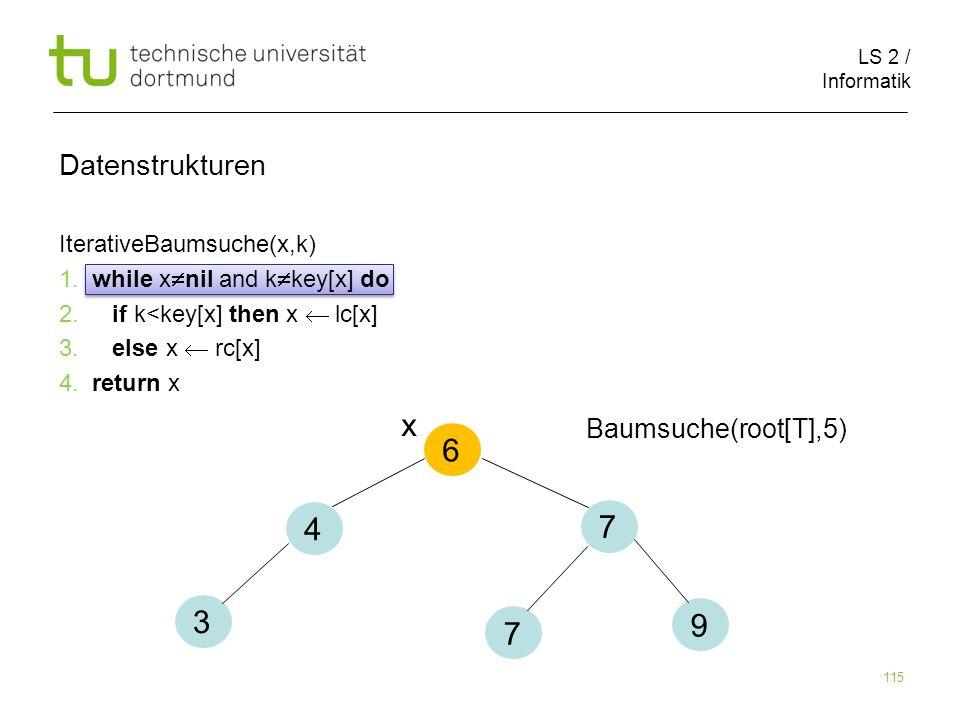 x 6 4 7 3 9 7 Datenstrukturen Baumsuche(root[T],5)